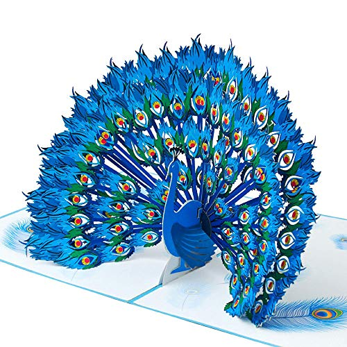 Stolzer Pfau - Handgemachte 3D Pop Up Grußkarte mit Umschlag, Recyclingpapier, Lasergravur, Pop Up Card für Frauen, Mädchen, Einzigartiges Design für Muttertag, Hochzeit, Jubiläum, Geburtstag, Liebe
