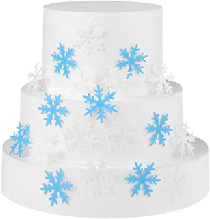 GEORLD Set of 48 Edible Snowflakes Cupcake & Cake Toppers Christmas Winter Party Decoration 2 Colors(White and Blue)