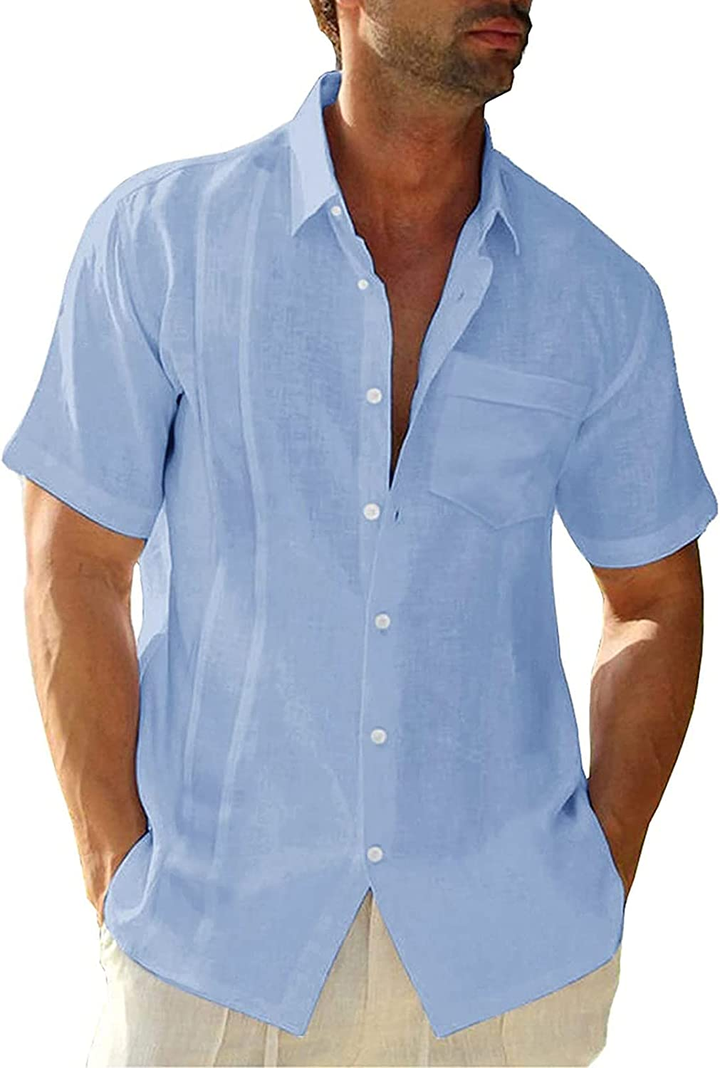 Cotton Linen Over item handling ☆ Shirts for Mens Button-down Clearance SALE Limited time Men's Henley Summer V