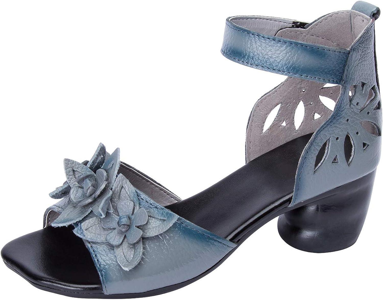Sekesin Women's Chunky Heel Sandal with Ankle Strap Low Heel Dress Sandal Open Toe Heeled Sandals