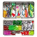 Dr.meter 136pcs Fishing Lures, Top Water Fishing Lures with Soft and Hard Lure Baits, Included Plastic Worms Tackle Box Frogs Crank Baits and More Fishing Gear Lures Set Kit-Great Gifts for Christmas