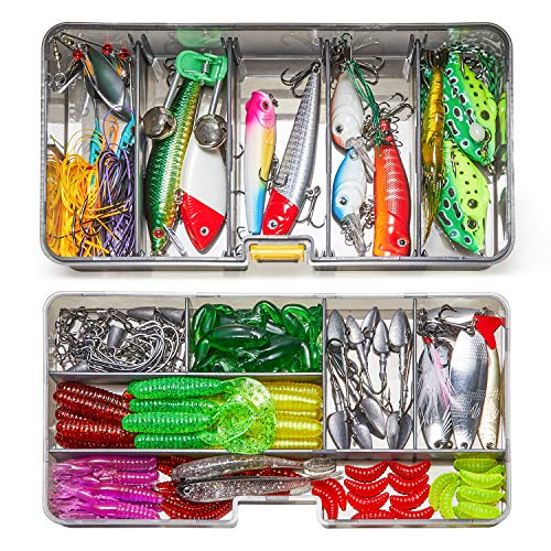 Fishing Lures, Dr.meter 136pcs Freshwater Saltwater Fishing Lure Set Including Spinnerbaits Crankbaits Plastic Worms Frogs Jigs Topwater Lures Hooks-Tackle Box and More Fishing Gear Lures Kit