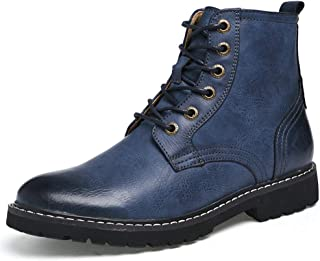 2019 New Arrival Men Boots Ankle Work Boot for Man High Top Boot Lace Up Style OX Leather Round Toe Retro Color Casual Fashion British Style Men's Boots