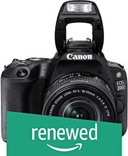 (Renewed) Canon EOS 200D 24.2MP Digital SLR Camera + EF-S 18-55 mm f4 is STM Lens, Free Camera Case and 16GB Card Inside