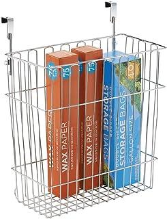 mDesign Cubo de basura de cocina para bolsas de 15l - Contenedor de reciclaje con cromado también apropiado para el baño ...