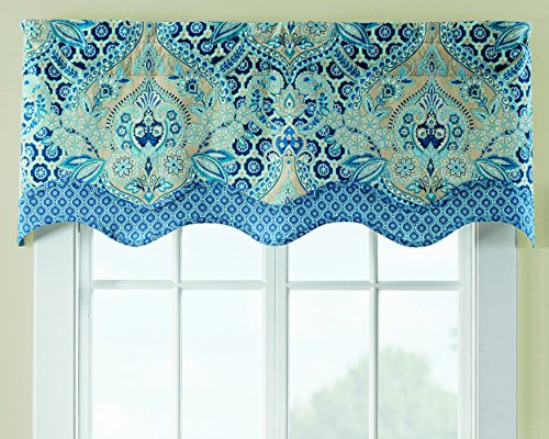 "Waverly Valances for Windows - Moonlit Shadows 52"" x 18"" Short Curtain Valance Small Window Curtains Bathroom, Living Room and Kitchens, Lapis"