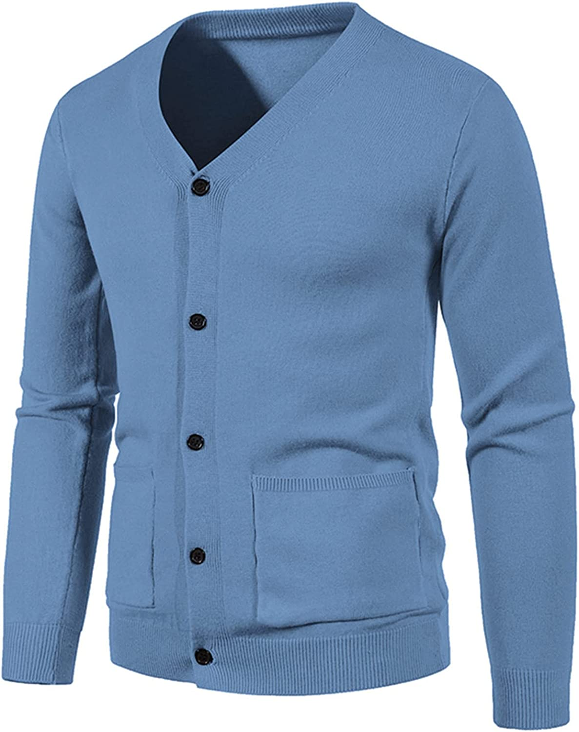 Mens Vintage Cardigan Sweater Button Down V-Neck Knitwear With Pocket Blouse