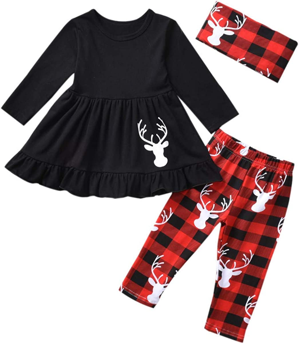 Toddler Girls Christmas Outfits, Baby Girl Tunic Drees Tops Buffalo Plaid Pants Scarf Deer Winter Clothes
