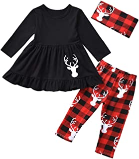 Toddler Girls Christmas Outfits, Baby Kids Girl Tunic Drees Tops Buffalo Plaid Pants Scarf Deer Winter Clothes
