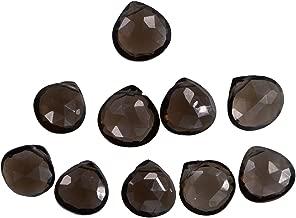Smoky Quartz 9mm Heart Briolettes .017 Inch Hole (Qty=10)