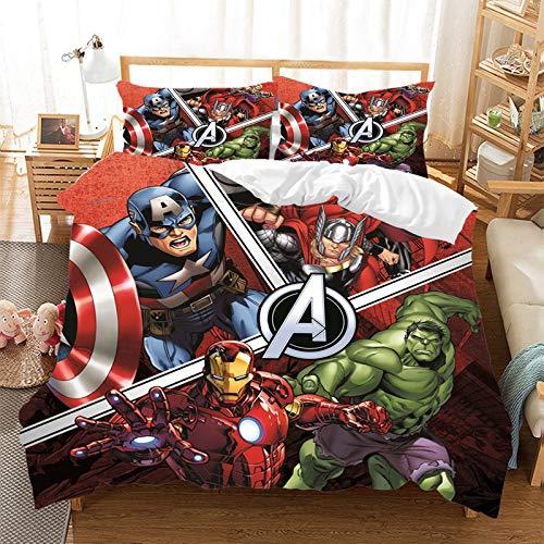 The Avengers - Juego de cama de 3 piezas con funda nórdica y 2 fundas de almohada 100% microfibra hipoalergénica, con cierre de cremallera Spiderman (R8,200 x 200 cm)
