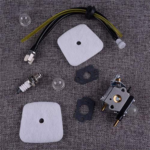 ZILMAKO 9pcs Carburetor & Air Filter Fuel Line Service Kit Fit For Mantis Tiller 7222 7225 SV-5C/2 Zama C1U-K82 C1U K82