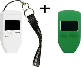 Trezorハードウェア財布(ホワイト) +ボーナスprotectingcoinケース/スキン(グリーン)
