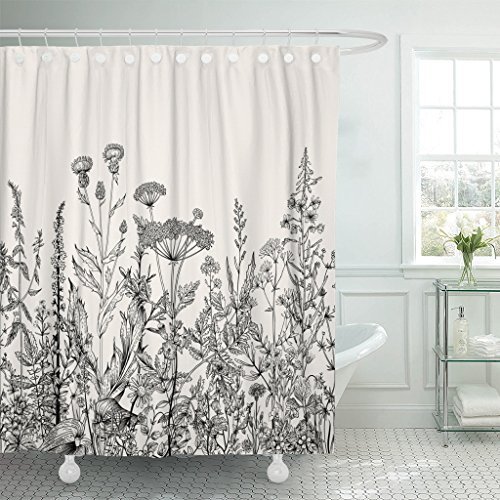Emvency Shower Curtain Floral Border Herbs and Wild Flowers Botanical Vintage Engraving Black Waterproof Polyester Fabric 72 x 72 Inches Set with Hooks