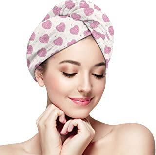 Quick Dry Hair Wrap Towels Turban,Minimalist Doodle Dots Circles Featured Heart Forms Lovers Birthday Theme,Absorbent Shower Cap