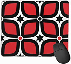 Red Black White Mid Century Modern Gaming Mouse Pad Non-Slip Rubber Mouse Mat for Computers Desktops Laptop 9.8