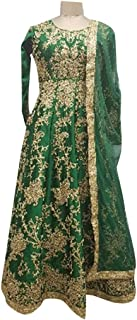 Green Muslim Bridal Wedding Collection Of Long Handwork Anarkali Suit Pakistani Custom to Measure Eid 2845