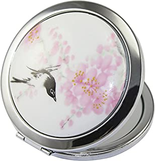 ADAMAI Makeup Cute Chinese Landscape Flower Bird Handhold Metal Round Hand Pocket Cosmetic Mini Mirror (#2)