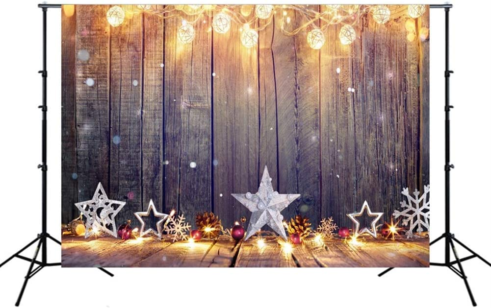 Insun Wall Photo Backdrop Christmas Tree Pentagram Floor Photography Background Non Reflective for Birthday Anniversary Party Photo 4.9x7.2 WxL