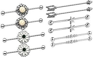 "4pc Titanium Anodized Steel Long Bar 14 Gauge 1-1//2/"" Industrial Barbell 38mm"