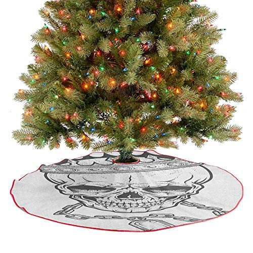 Large Christmas Tree Skirt Sketchy Skull with Crown Hip Hop Street Style Necklace Chain Gem Image Print Fine Decorative Handicraft for Holiday Party Charcoal Grey White 30 Inch
