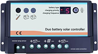 Temank Dual Battery Solar Charge Controller 20A 12V 24V Duo-Battery Solar Controller for RVs Caravans and Boats