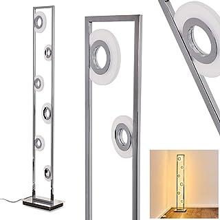 Lampadaire LED Obip, lampe sur pied en métal chromé avec 6 spots ronds, 22 Watt au total, 2100 Lumen, 3000 Kelvin (blanc c...
