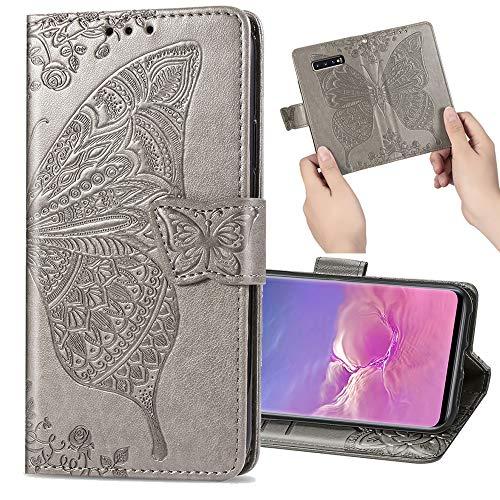 Nadoli Leder Hülle für Galaxy S9 Plus,Retro Schmetterling Blumen Muster Kunstleder Trageschlaufe Ständer Flip Brieftasche Handyhülle Schutzhülle für Samsung Galaxy S9 Plus,Grau