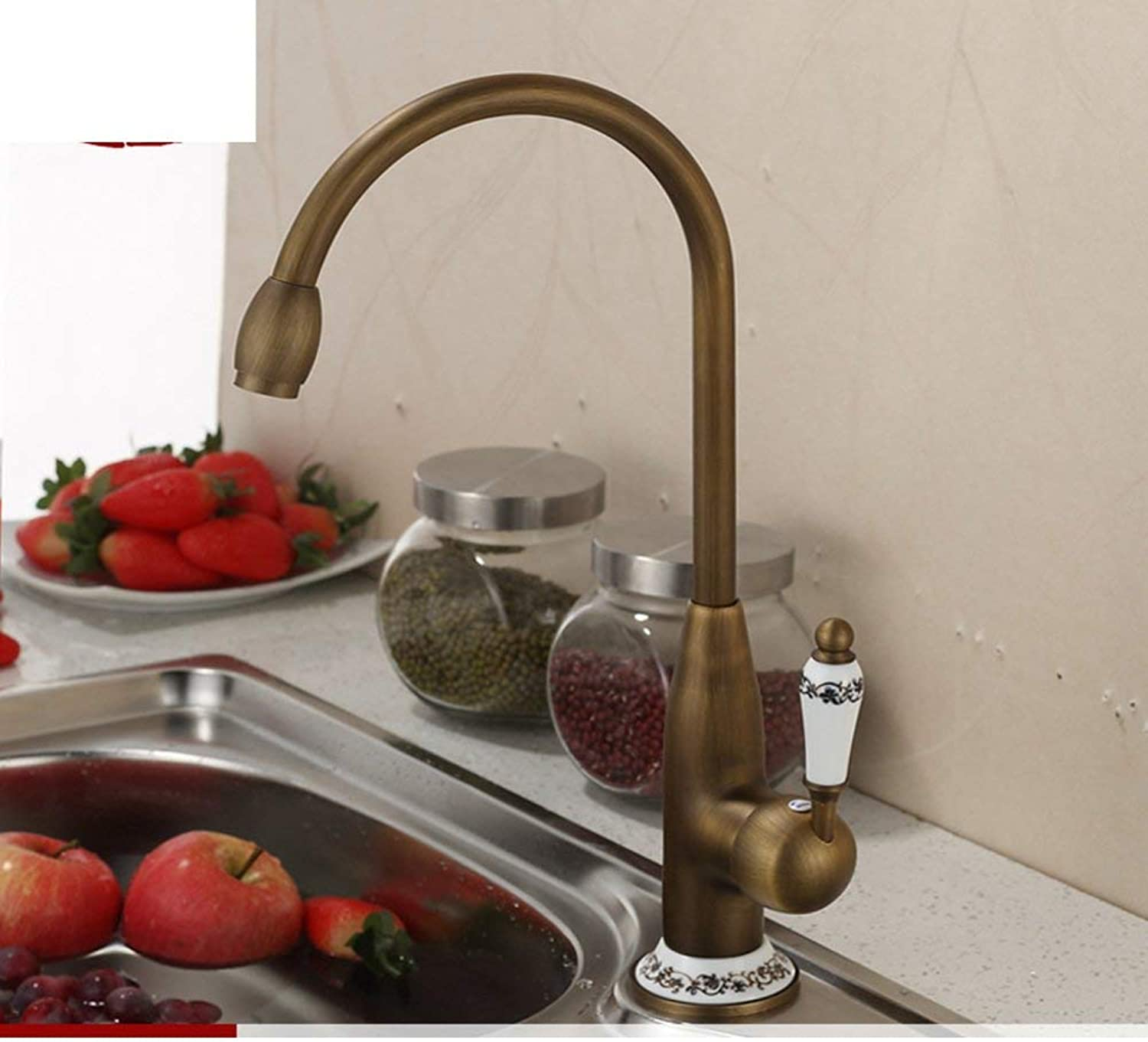 FuweiEncore European antique All copper basin hot and cold taps Kitchen sink faucet redatable-B (color   -, Size   -)