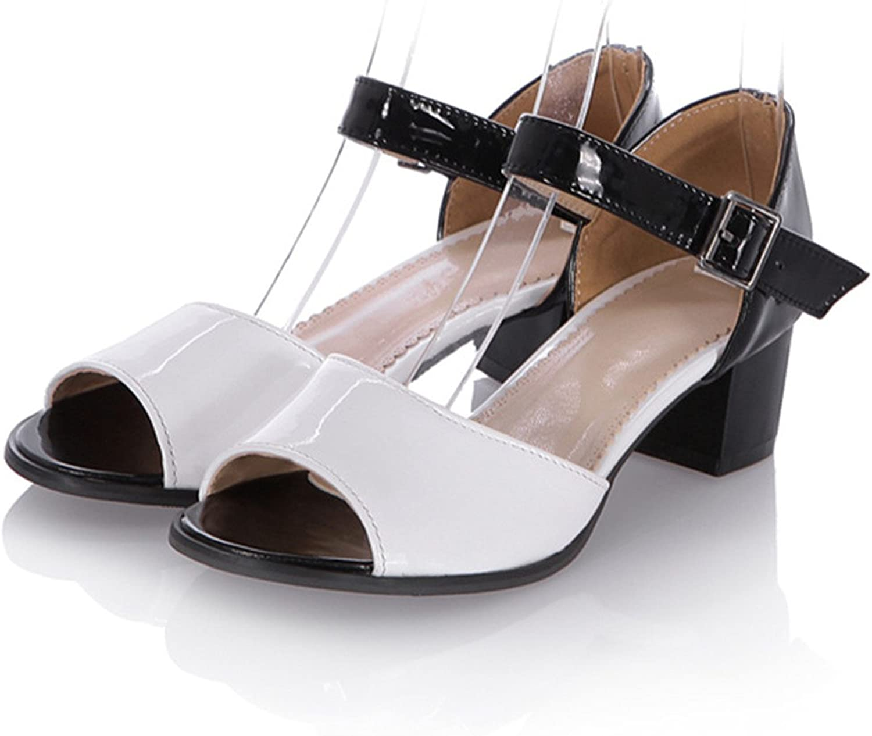 Spyman New Women Sandals Fashion Mixed colors Summer shoes Simple Buckle Elegant Peep Toe Comfortable Square Heel shoes