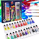 TBC The Best Crafts 24 Colours(9.5ml/Tube) Acrylic Paints for Artists(22 Basic & 2 Metallic Colours), Non...