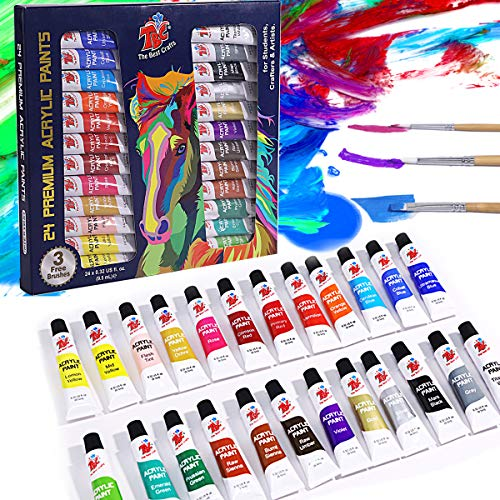 TBC The Best Crafts 24 Colours(9.5ml/Tube) Acrylic Paints for Artists(22 Basic & 2 Metallic Colours), Non toxic, Ideal Acrylic Art Set for Canvas, Wood, Rock Painting, School/Classroom Essentials