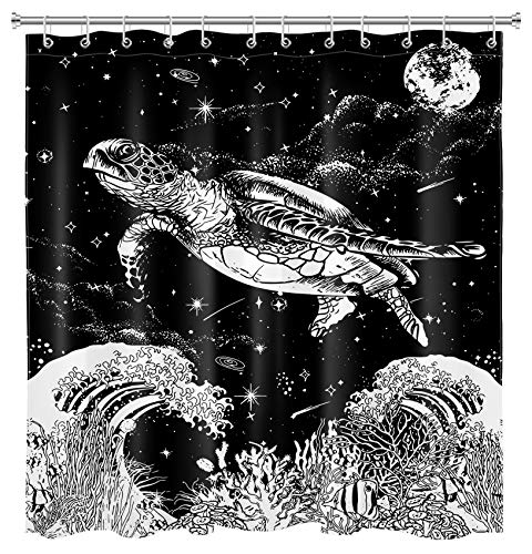 HVEST Japanese Wave Shower Curtain Sea Turtle Funny Ocean Animals Outer Space Moon Fantasy Galaxy Stars Black Shower Curtain with Hooks Polyester Waterproof 69X70Inch