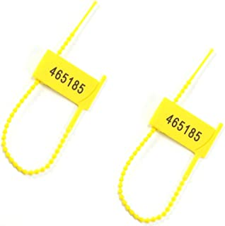 1000 Numbered Tamper Proof Plastic Fire Extinguisher Safety Tags Zip Tie Pull Tites Security Seals Tear Off Disposable Self-Locking Donation Box Locks(Yellow)