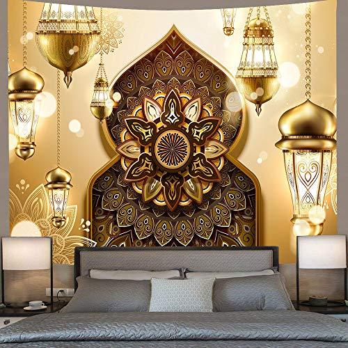 JXWR Barr Tapiz Dorado musulmán Luna Linterna Colgante de Pared Tapiz Sala de Estar Dormitorio hogar 203x152