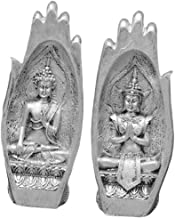 Flameer 1 Pair Buddha Sitting in Hand Statue Zen Decoration - Resin Buddha Hand Sculpture Artistic Peaceful Lao Buddha in ...
