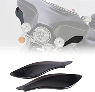 KIWI MASTER New 2 Pcs Adjustable Air Deflectors Side Wings Windshield Fairing Side Cover Shield Compatible for 2014-2019 Harley Davidson Touring Electra/Street/Tri Glide CVO,Dark Smoke Finish