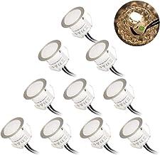 10 Pack Foco Empotrable, Öuesen GU10 led Luz de redondo Techo, Luz al Suelo Iluminación Exteriores Aluminio Ø32mm, 0.6W,3000k, IP67 Impermeable, Luz Blanco Cálido, Apto para sala de estar, césped.