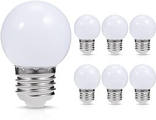 JandCase Globe LED Light Bulbs, 1W, Daylight White, Tiny G14 Bulbs for Night Light, Vanity Mirror, Porch, Home Decor, E27 Medium Base, Not Dimmable, 6 Pack