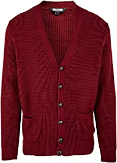 Relco Mens Waffle Knit Retro 60s Button Cardigan