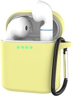 Auleset Dammtät silikon enfärgad hörlurar fodral kompatibel med Honor FlyPods – gul
