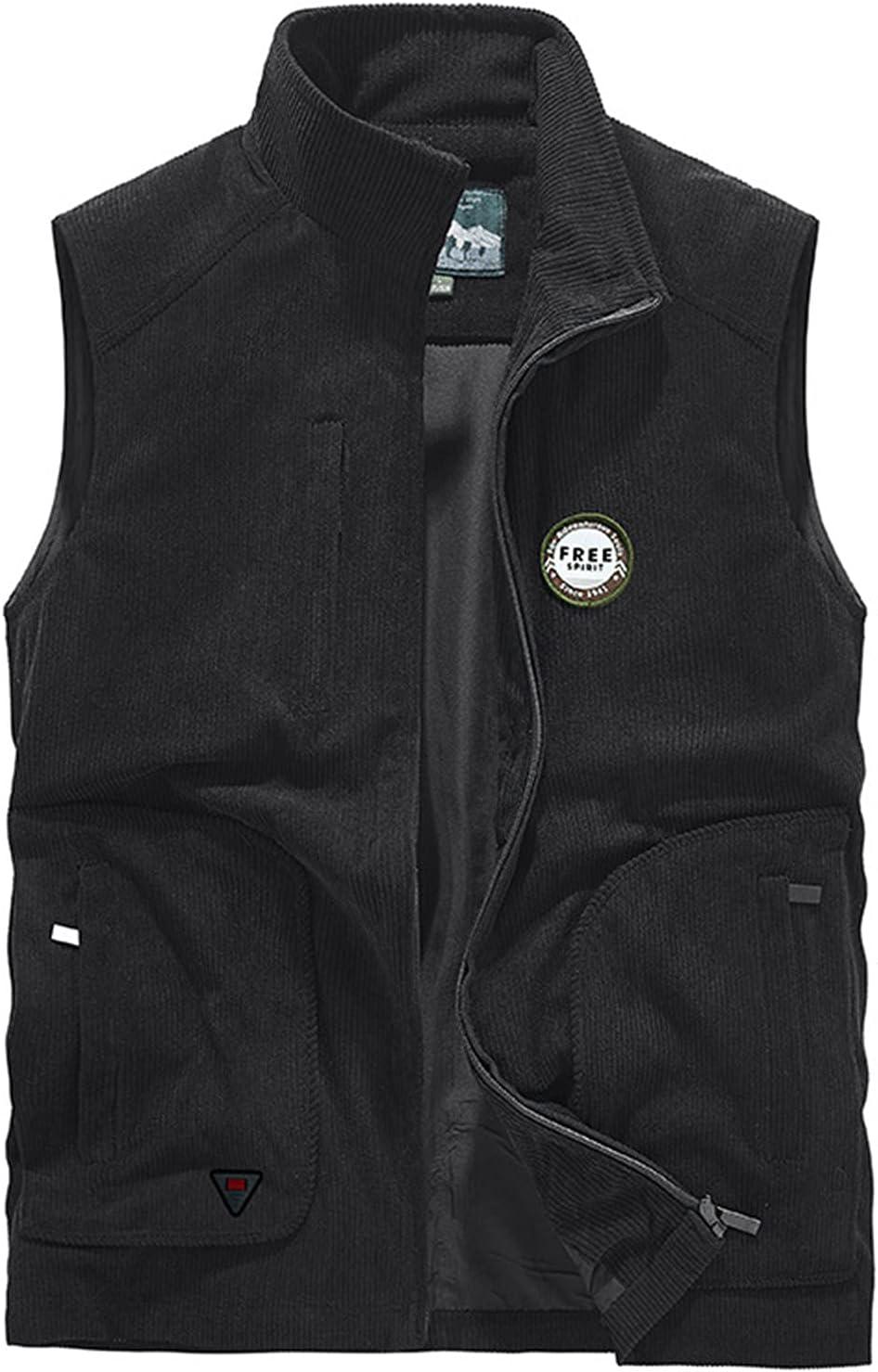 WFEI Vintage Corduroy Vests for Men Casual Hiking Waistcoat Outdoor Waistcoat Men's Sleeveless Jacket Top,Black,XXL
