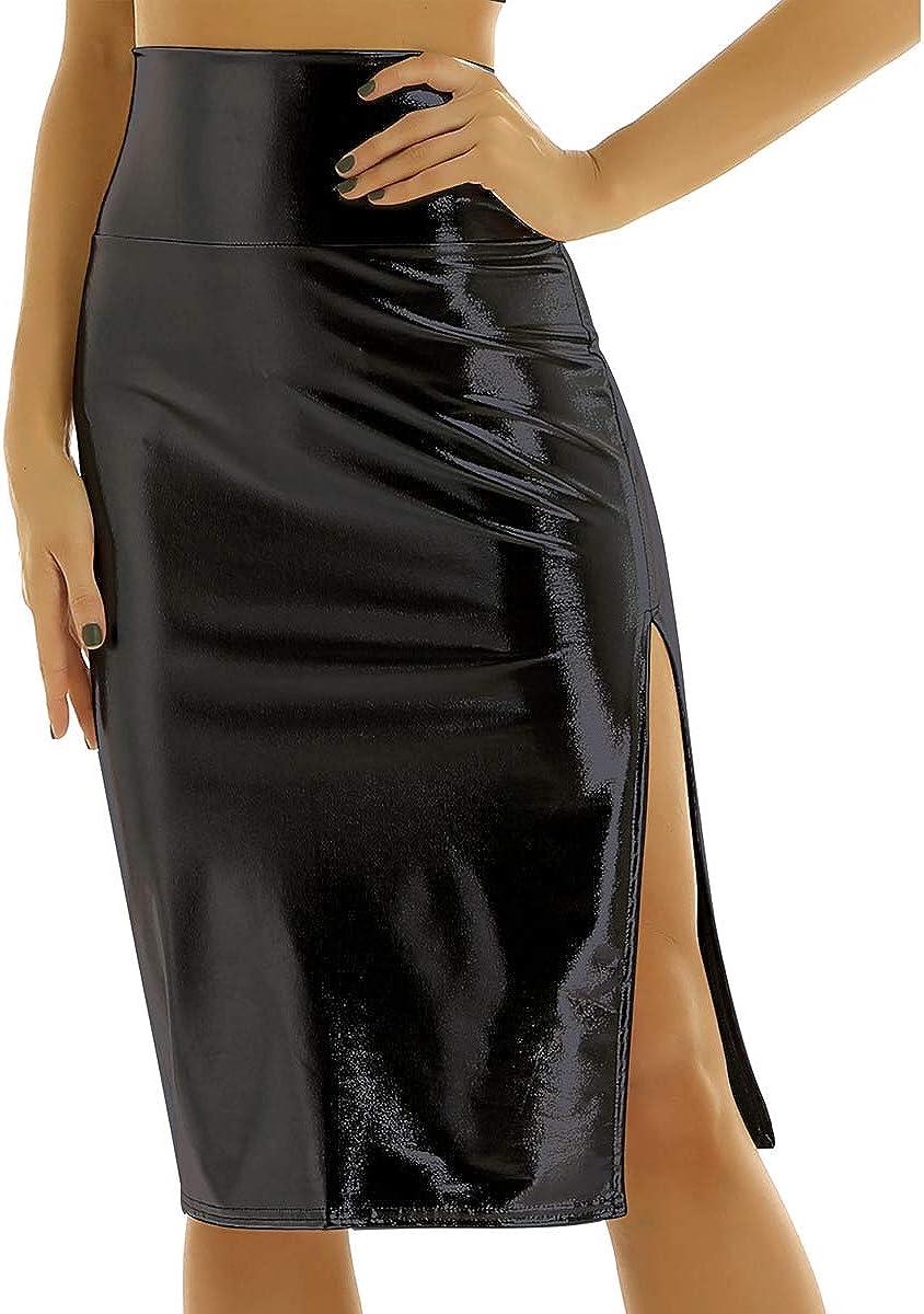 YONGHS Women's Holographic Shiny Metallic High Waist Split Midi Pencil Skirts Stretch Bodycon