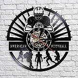 TSTHYZ Joueurs de Football américain Horloge Murale Sport Vestiaire Décoration Murale Design Moderne Rugby Disque Vinyle Horloge Murale Football Fan Cadeau