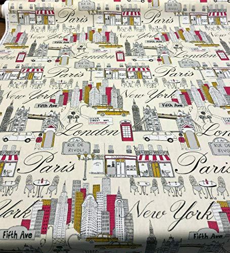 PK Lifestyles City Scape Fiesta Paris London New York Fabric By the Yard