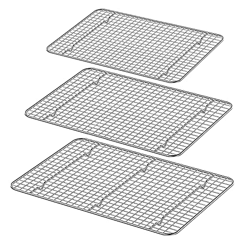 Luvan 100% 304(18/10) Edelstahl Abkühlgitter passend für verschiedene Größen von Backformen, ofen- und spülmaschinenfest und rostfrei, strapazierfähig und antihaftbeschichtet. (Set mit 3 Größen)