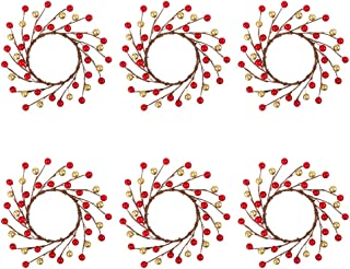 TERUNPU 6pcs Candle Rings Christmas Candle Holders Small Wreaths for Table Centerpiece Christmas Decorations, Fits 4 inch Diameter Candles - Red and Gold