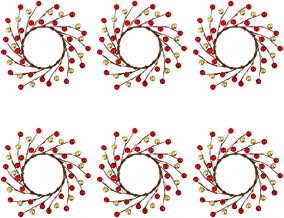 TERUNPU 6pcs Candle Rings Christmas Candle Holders for Table Centerpiece Christmas Decorations, 7 Inch (4-inch Inner Ring)