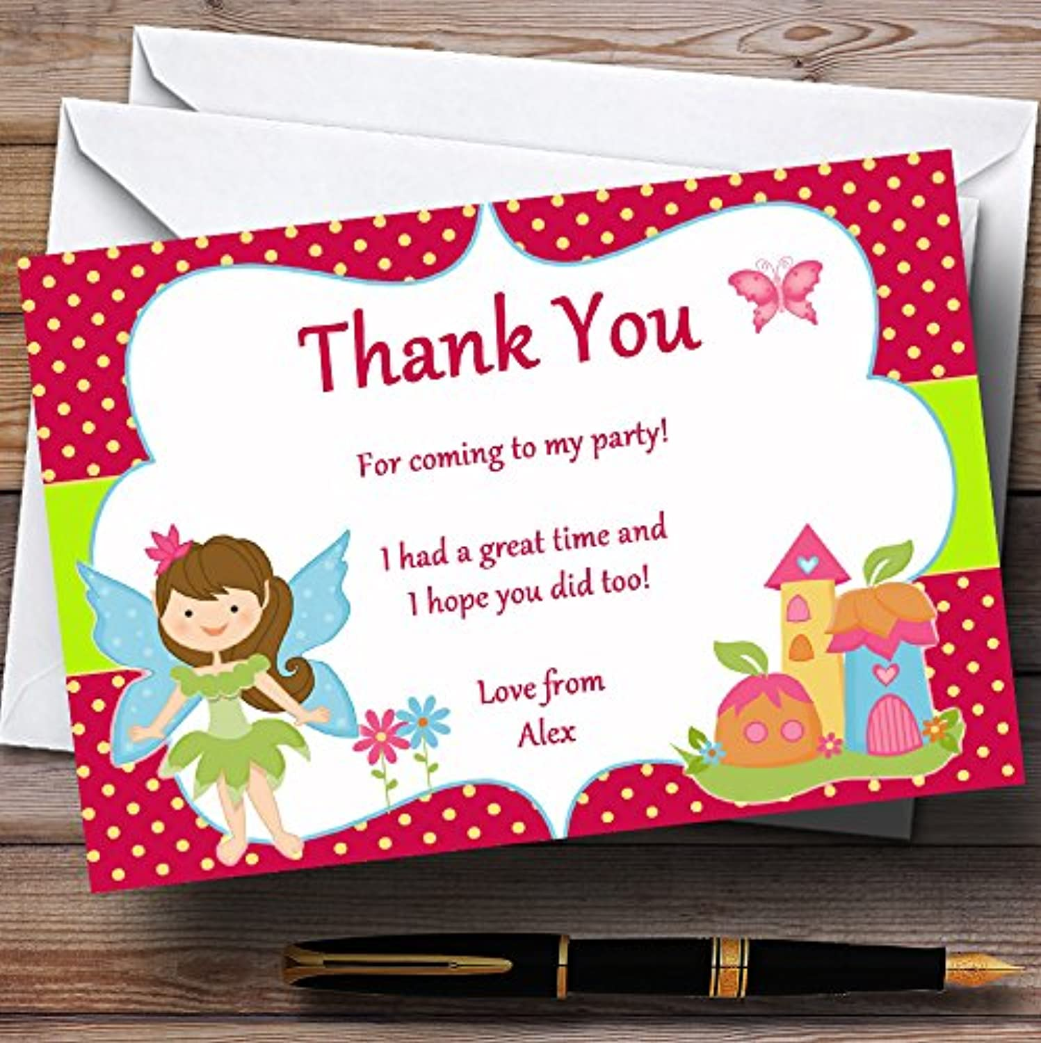 Fairy Pixie Personalised Birthday Party Thank You Cards