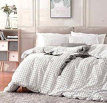 Fire Kirin King Duvet Cover Set with Zipper Closure 3Pcs  1 Duvet Cover + 2 Pillowcases  Modern Mini Black and White Grid Plaid Checkered Pattern Bedding Cover Set